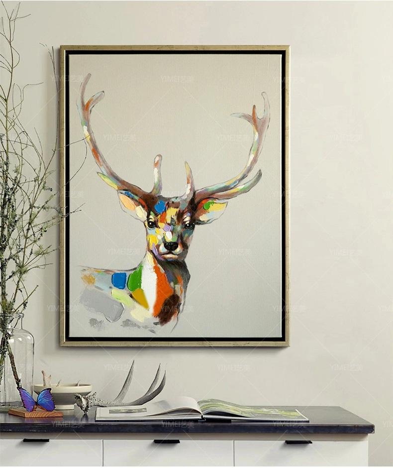 手绘立体油画欧式现代中式客厅餐厅玄关竖书房装饰画抽象吉祥鹿头 浅