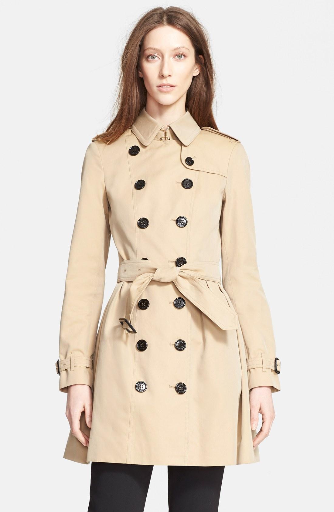 巴宝莉(burberry)女款风衣 纯棉 双排扣 腰带1107408