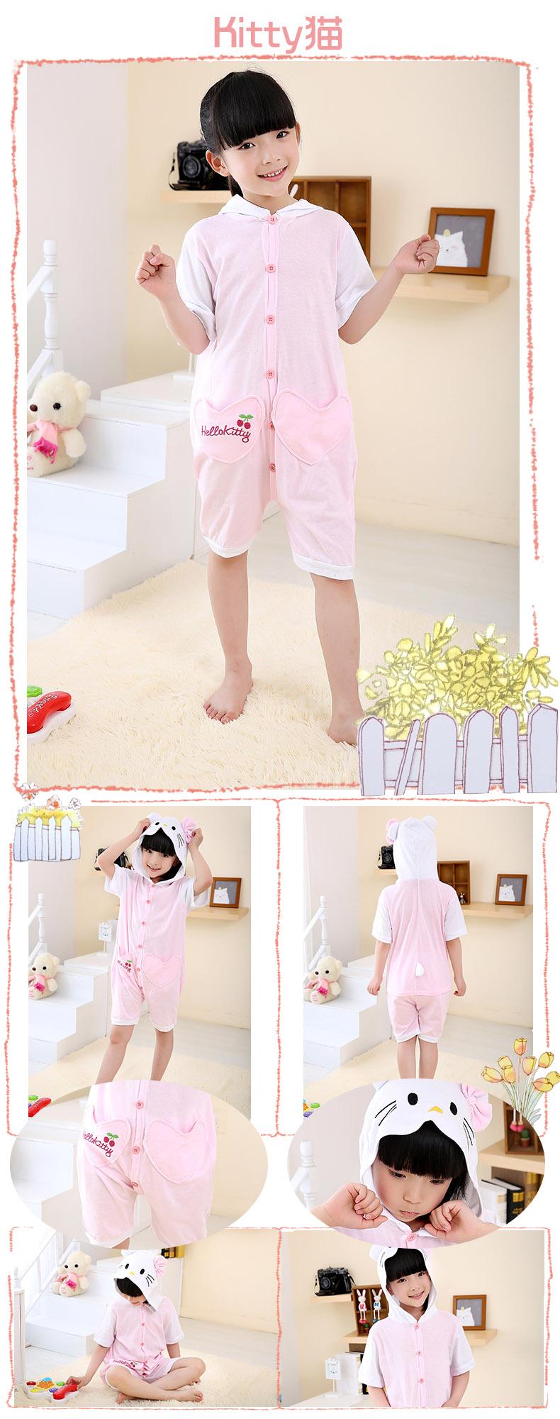夏季短袖卡通动物儿童连体睡衣男女孩纯棉恐龙猫动物连体睡衣家居服