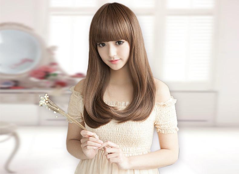 贝丽丝假发 假发女 梨花头齐刘海内扣中长发型 蓬松甜美自然逼真长