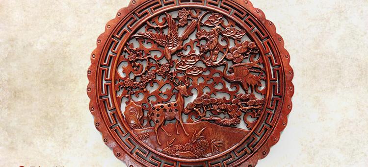 东阳木雕 香樟木福字圆形挂件 乔迁搬家礼品 中式实木镂空挂件 木雕