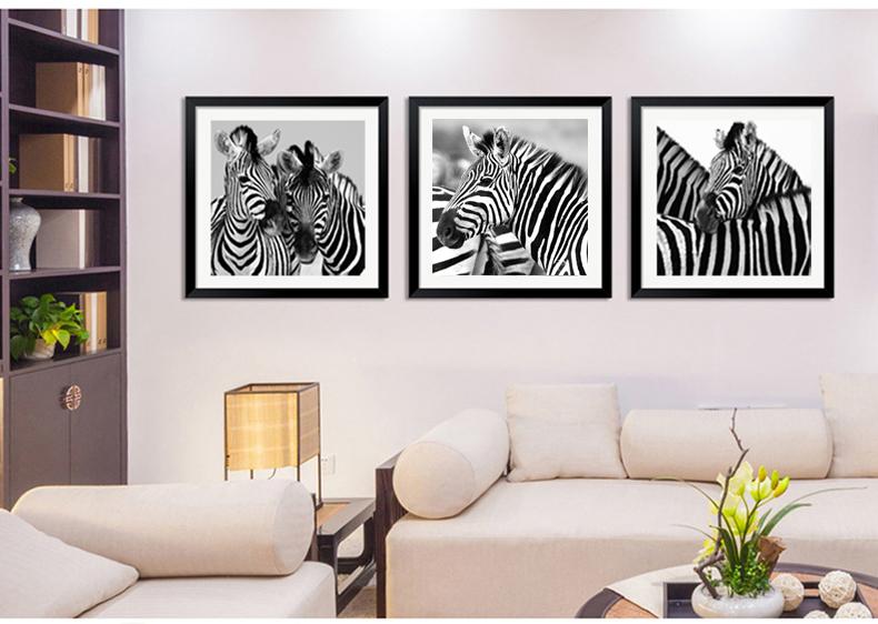 众画 黑白抽象画现代简约艺术挂画带框画客厅装饰画餐厅卧室玄关走廊