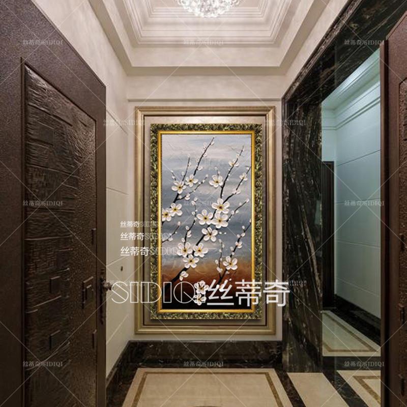 玄关挂画时尚家居油画走廊装饰有框画过道酒店竖版无框壁画 欧式雕花图片