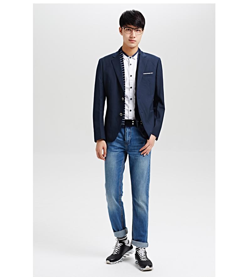 森马休闲西服 秋装新款男装 男士韩版潮流时尚合体小西装外套灰图片