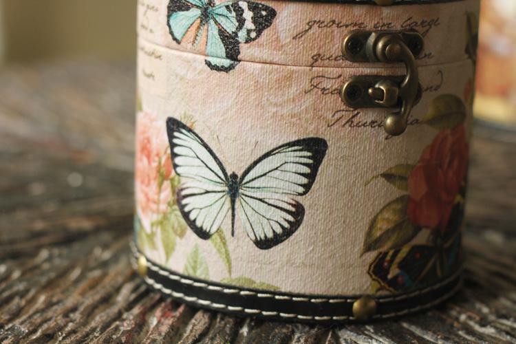 欧式复古创意圆柱纸巾盒 家居餐巾纸盒抽纸盒 纯手工木皮质 3款选
