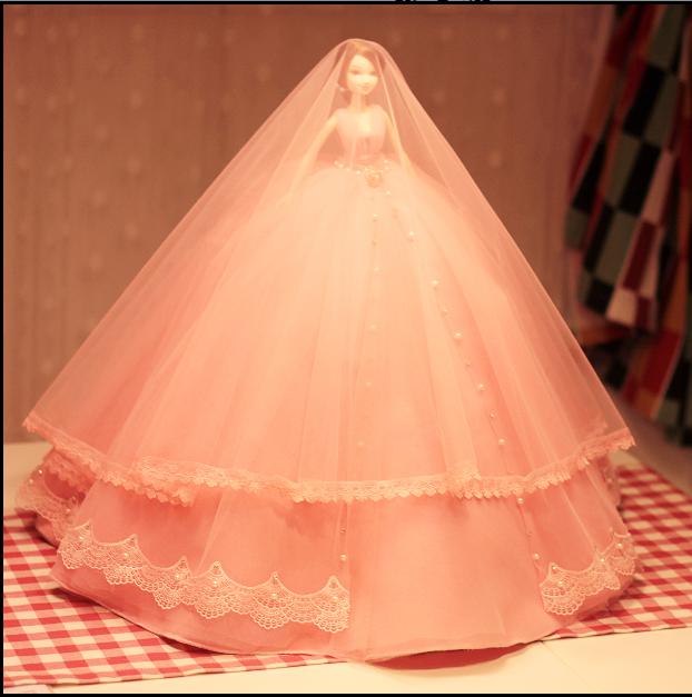 卡通可爱婚纱芭比公主新娘中国娃娃情人节生日婚庆