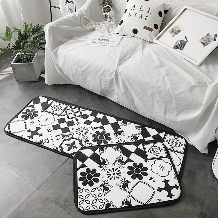 ins北欧风植物叶子厨房浴室门口脚垫卧室床边长条形地垫客厅 地毯