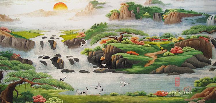 艺绫手工 招财山水风景图 2米大型国画山水画苏绣苏州