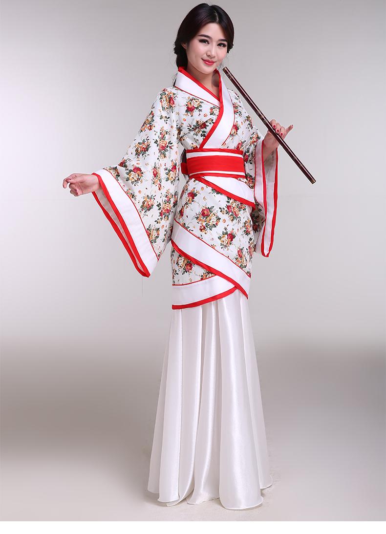 古装服装汉服女装曲裾深衣写真汉代古装公主侍女演出服女 花底红边双