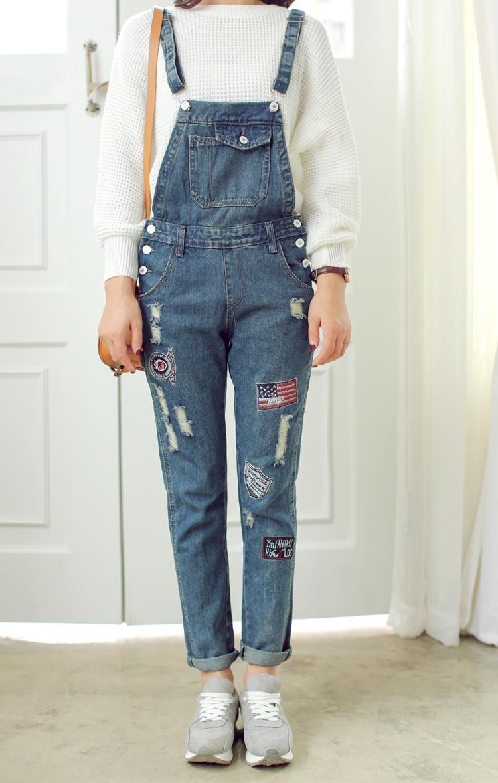 vansico 韩版学院风刺绣贴布长裤女背带裤牛仔裤 蓝色图片