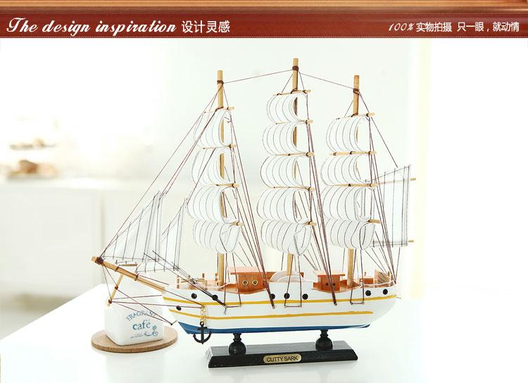 实木质帆船模型 地中海海盗船轮船 手工制作工艺船品礼品帆船摆件 a款