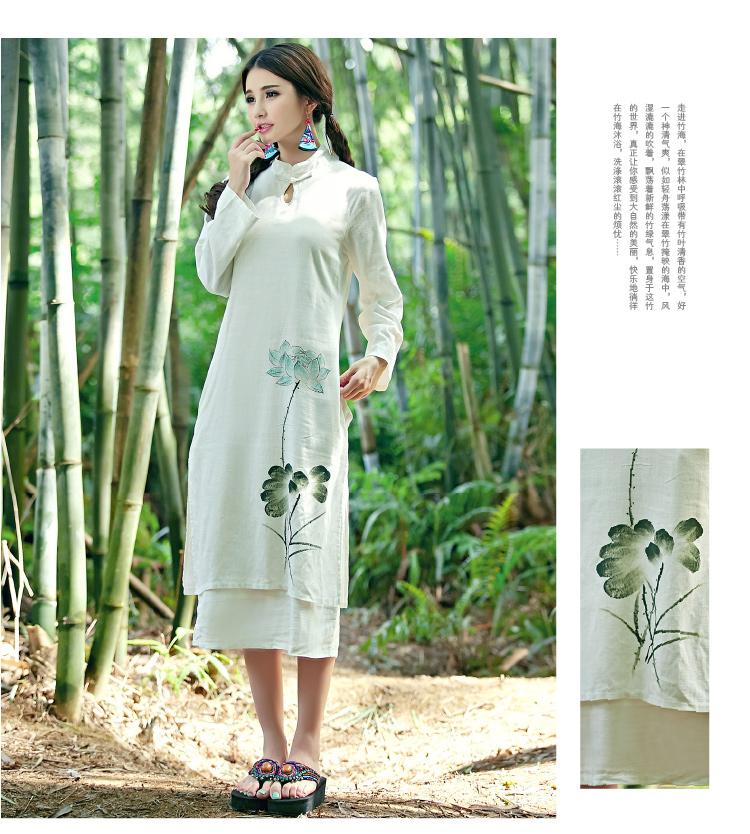 蜜素娜 2015新款民族风文艺系列棉麻长裙纯手绘长裙#5970 米白色 均码