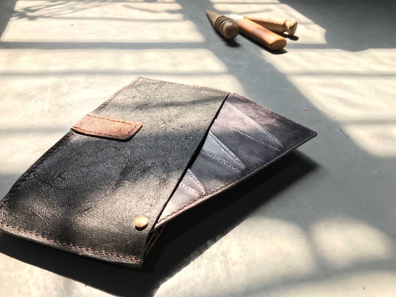 """""""格""""系列原创设计半手工制作真皮钱包长夹 绿色"""