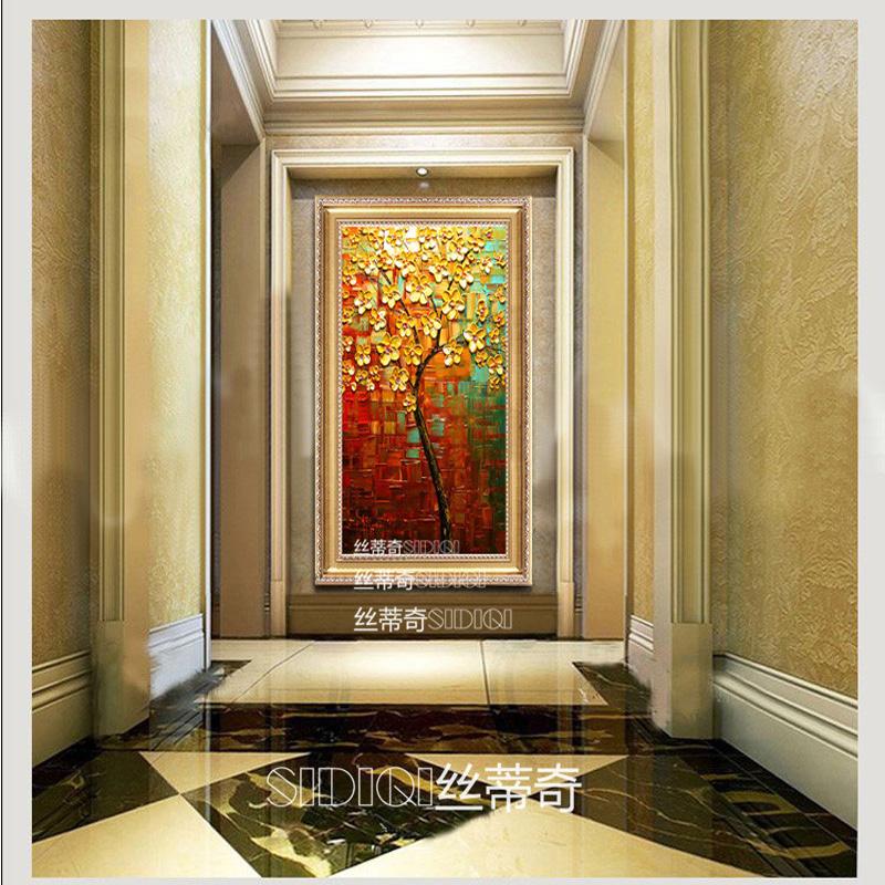 丝蒂奇手绘欧式玄关有框挂画现代家居油画走廊时尚装饰墙画 高档酒店