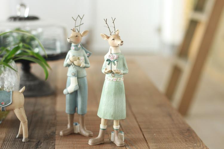 北欧乡村家居装饰品新房摆设树脂工艺品 创意礼品 圣诞糜鹿摆件 a款图片