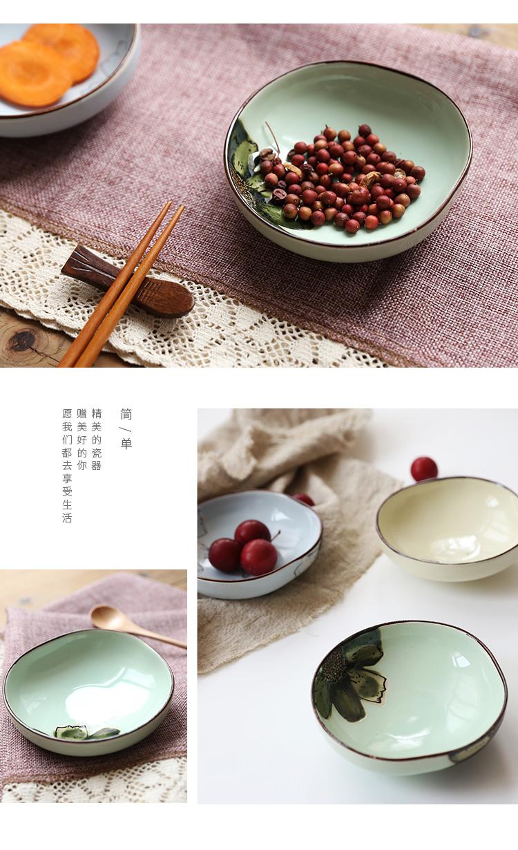 牧马人 日系简约风手绘时尚油彩陶瓷盘子艺术设计感餐盘餐具个性可