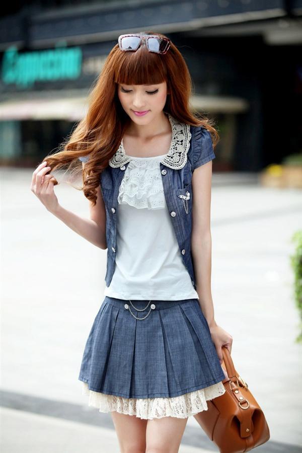 少女装_帷魅venmer夏季新款韩版新款三件套裙牛仔连衣裙学生装少女裙子 6517