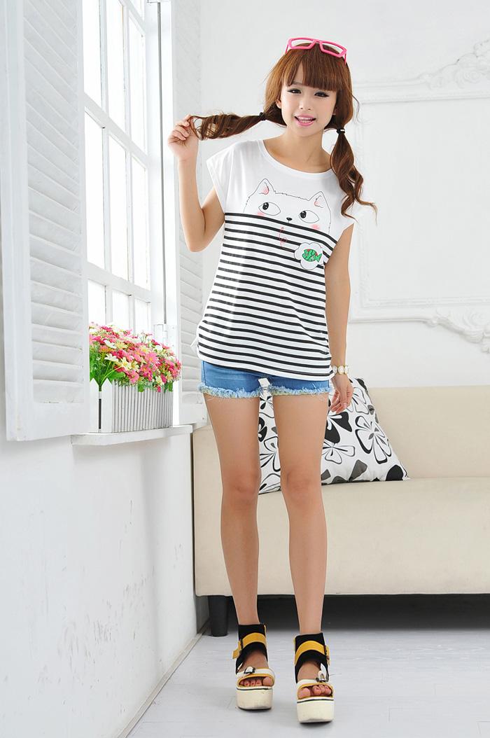 瀚琛2014夏装新款女装 韩版上衣中学生 可爱卡通纯棉修身短袖t恤 图片图片
