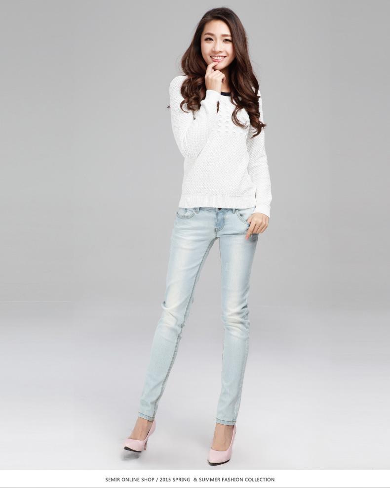 森马2015春装新款牛仔裤 女装磨白修身显瘦裤子 女韩版潮牛仔长裤图片