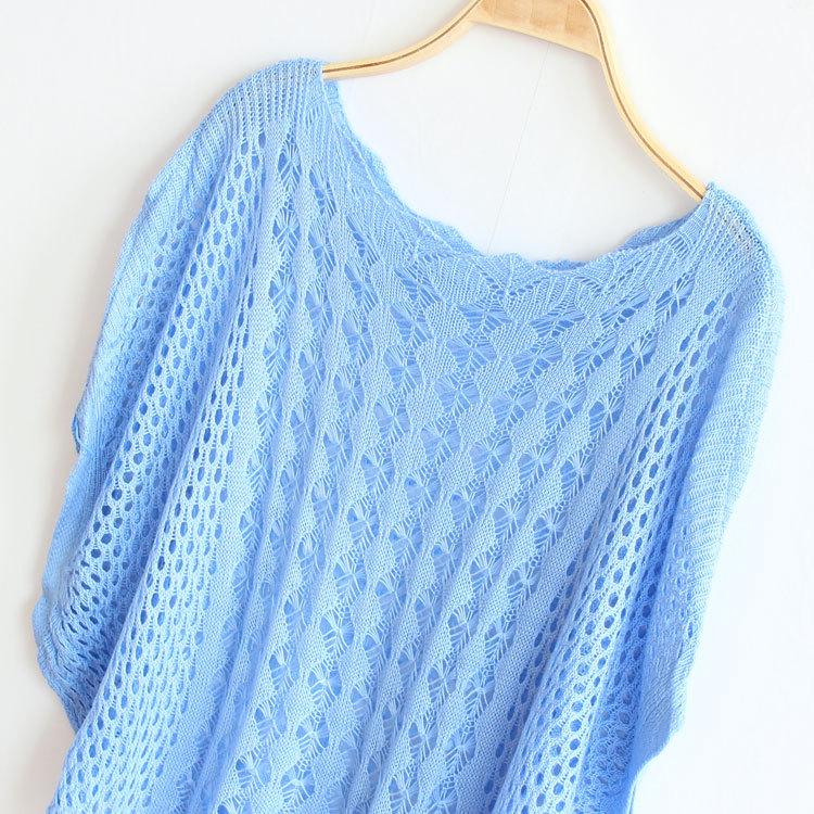 清露晨流2015春装夏季一字领中袖罩衫蝙蝠袖宽松大码镂空针织衫毛衣
