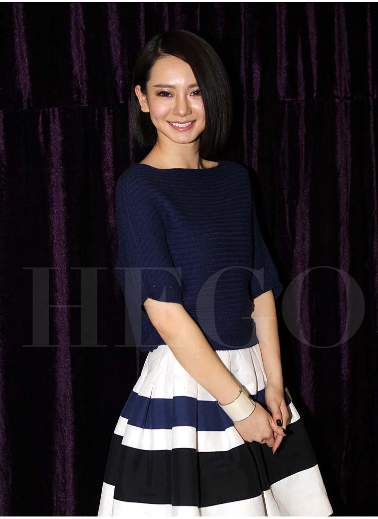 杨颖 (angelababy) 亮相电影《在一起》的上海发布会 蓝色针织衫
