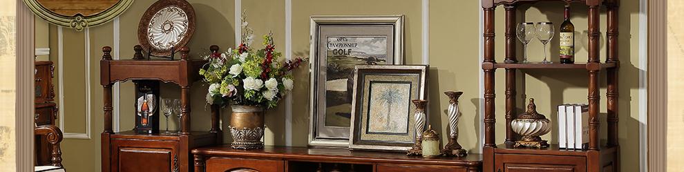 伊诺亚 美式乡村家具实木装饰柜 双层酒柜 置物架子矮柜 欧式深色客厅图片