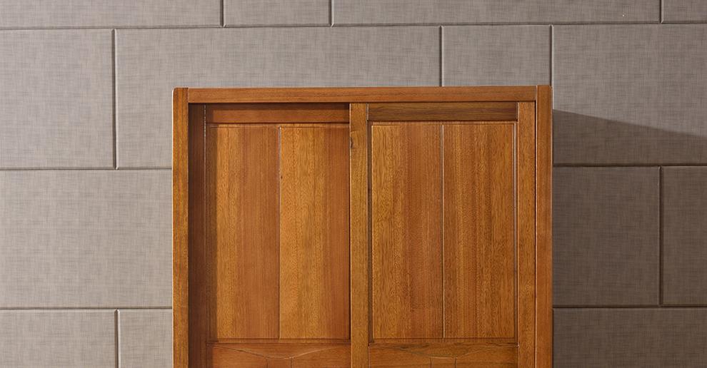 福好多实木衣柜 黑胡桃木0甲醛木柜2米衣柜两趟门衣柜