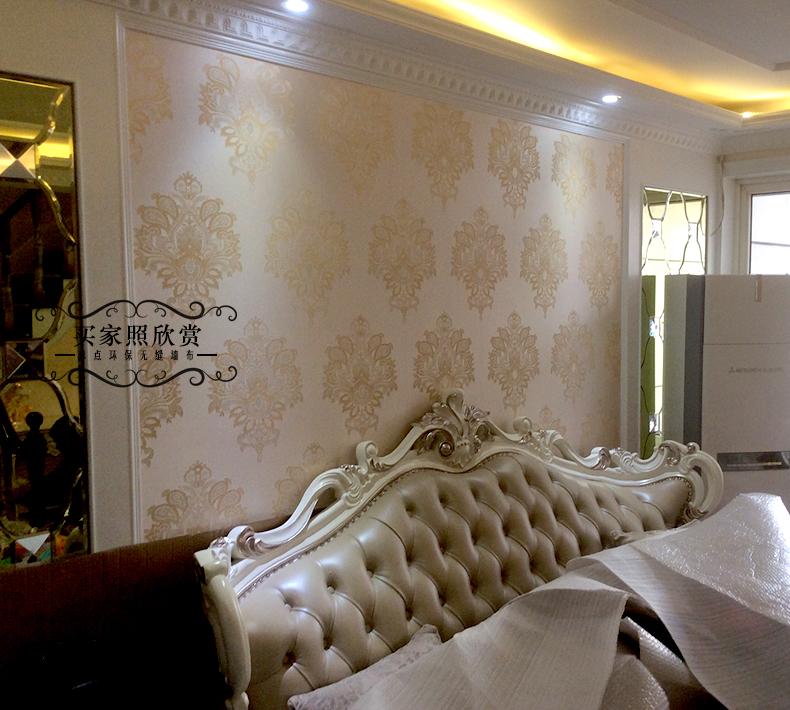 幕点无缝墙布 奢华欧式大花 客厅电视背景卧室墙纸 防水壁布 墙布图片