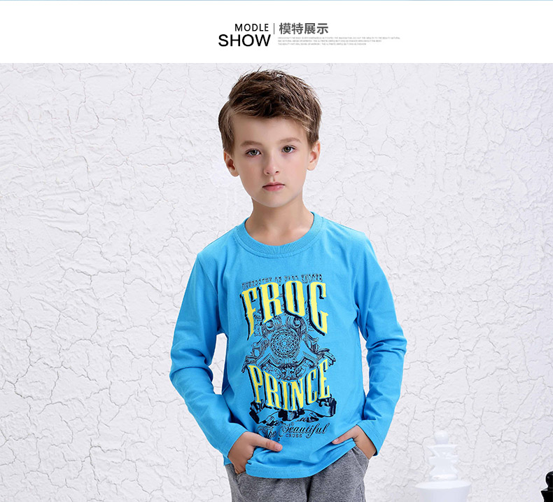 青蛙皇子 品牌童装字母印花百搭休闲长袖t恤 秋装新款