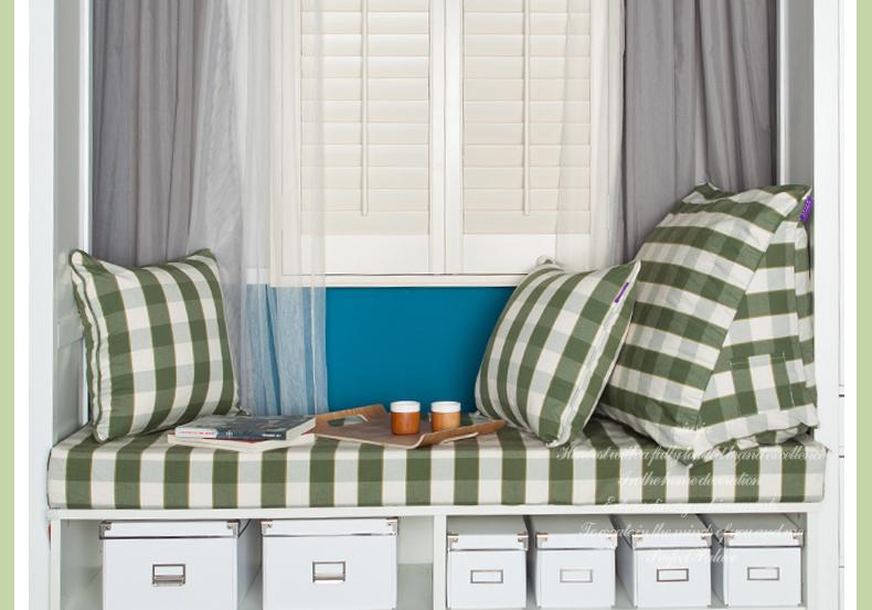 京大人飘窗垫 窗台垫子定做绿色条纹格子面料 沙发套窗帘订做 宽80cm