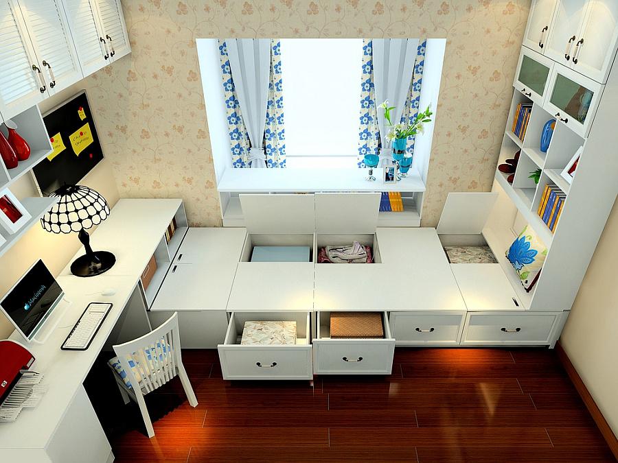 尚品宅配 书柜 书架 定制 书柜 榻榻米 书桌 免费家具
