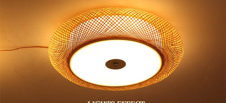 比月中式灯具创意田园卧室客厅餐厅竹丝手工编织吸顶灯3161 小号图片