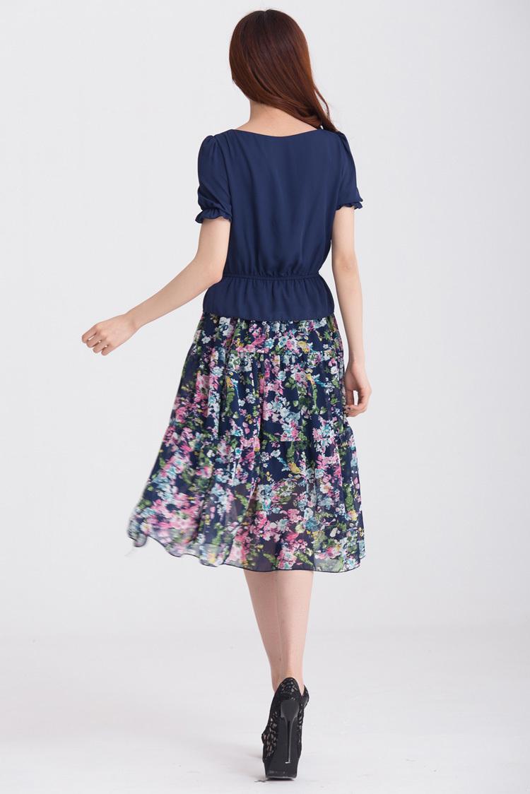 bb胖mm大码服装夏2014女装爆款撞色碎花拼接短袖连衣裙微信代理 蓝色