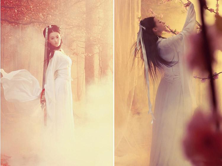 古装服装仙女装小龙女白色古装汉服舞台演出服特价侠女服 杨过 160
