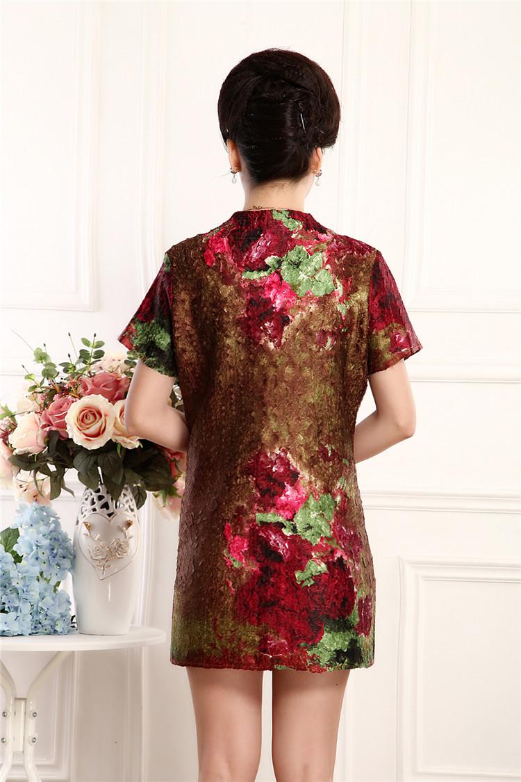 中老年连衣裙中年女装连衣裙桑蚕丝婚宴大码老年人裙装妈妈装婚礼服图片