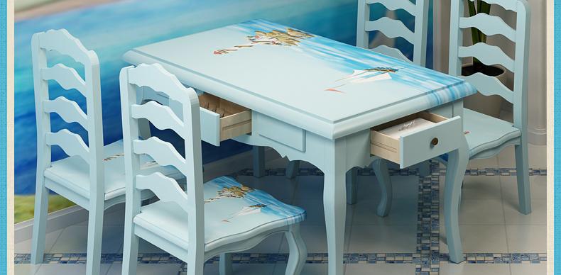 优尚美家 地中海手绘帆船餐桌 餐厅家具组合 欧式田园