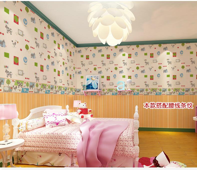 顺美壁纸 正品无纺布壁纸 儿童房卡通小动物漫画儿童墙纸 男孩卧室