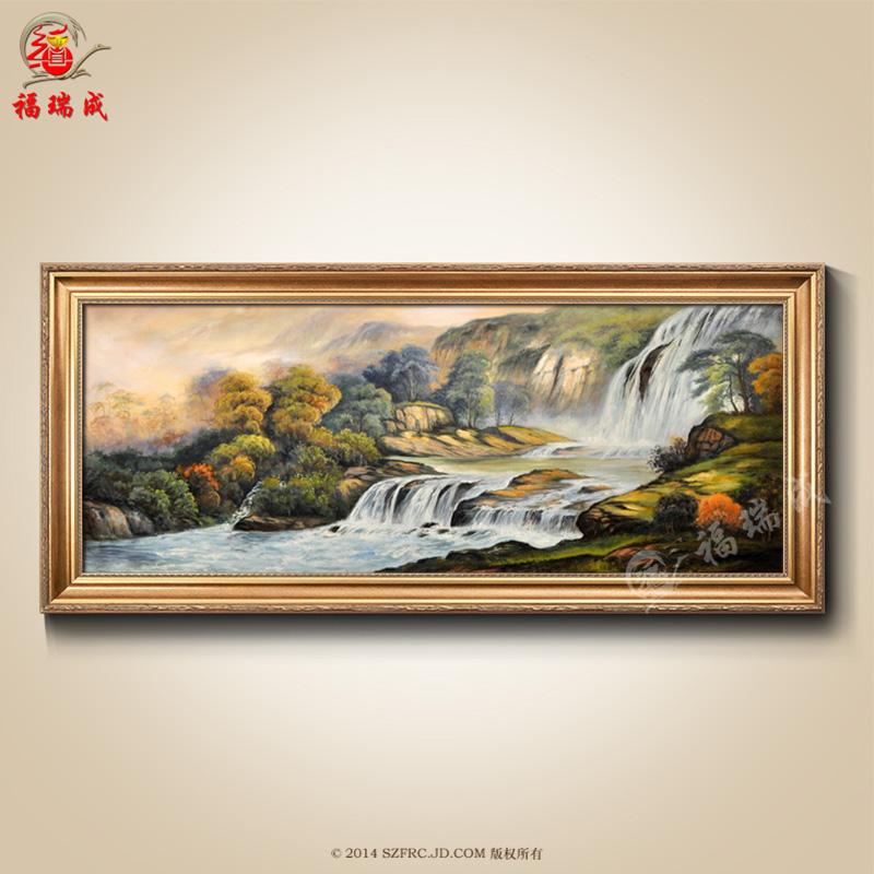 纯手绘油画欧式客厅沙发背景风景油画简欧装饰画卧室餐厅有框画壁画