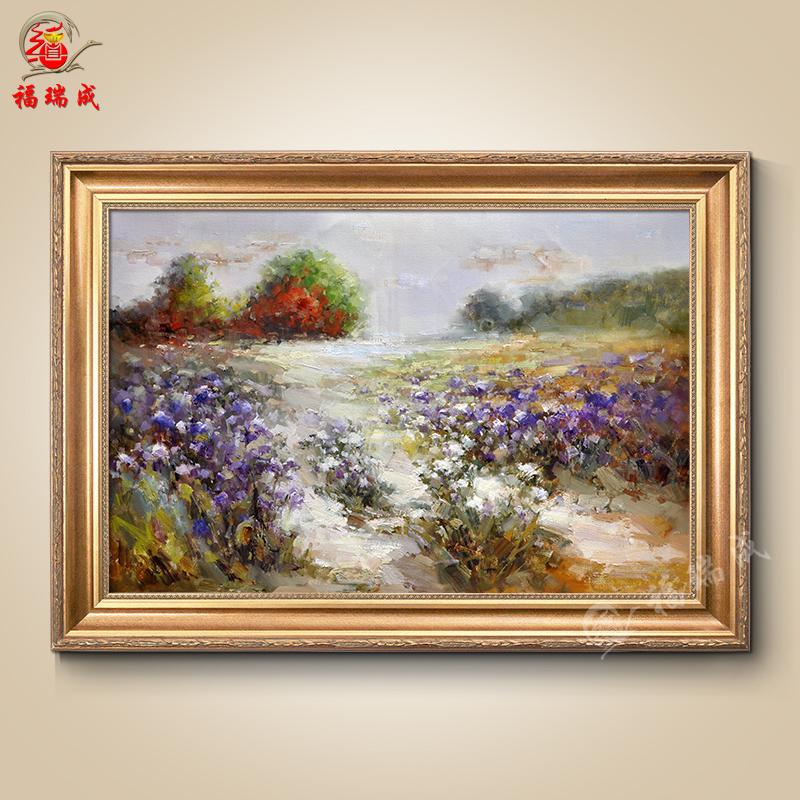 手绘油画 沙发背景书房 现代简约欧式 抽象花卉风景装饰有框画 作品十