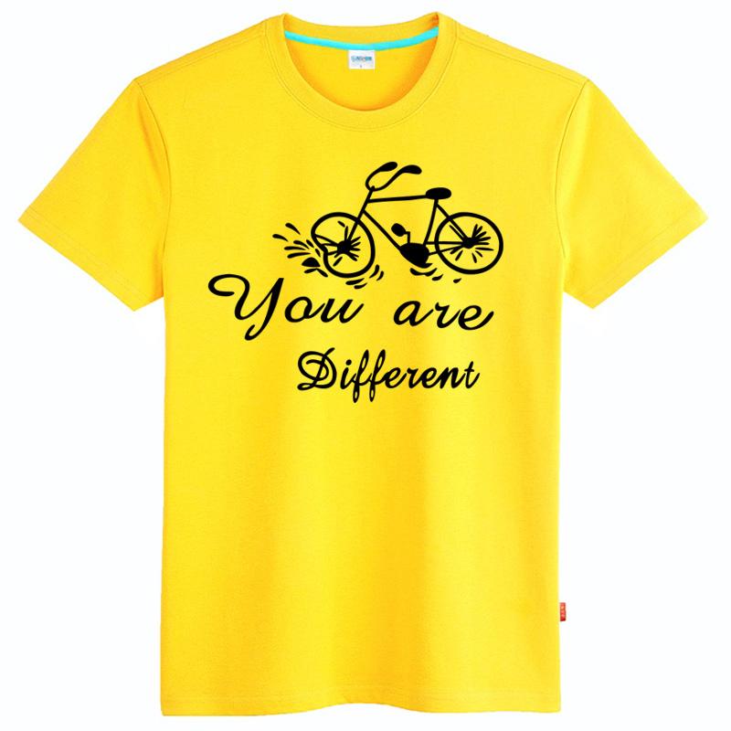 乐酷 潮流个性手绘自行车短袖t恤 男士纯棉加肥加大码半袖体恤衫 浅灰