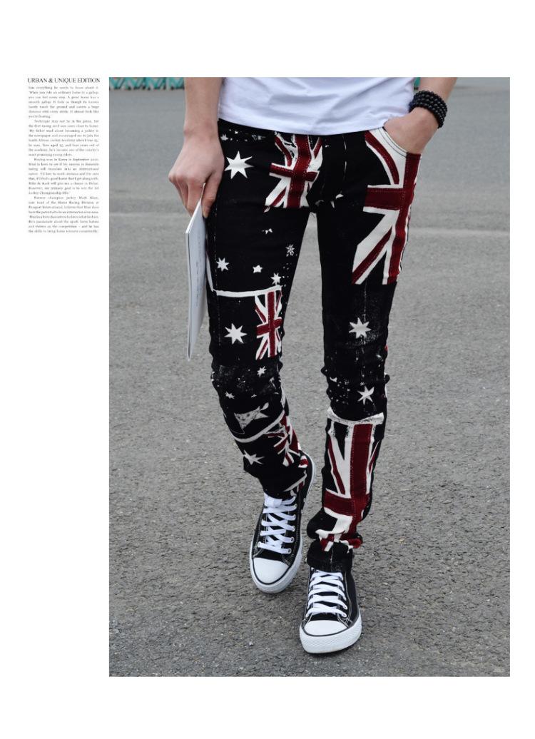 青少年潮男男装_幸福时光 2015新款男装裤子 潮男花裤子青少年紧身休闲裤时尚男士非