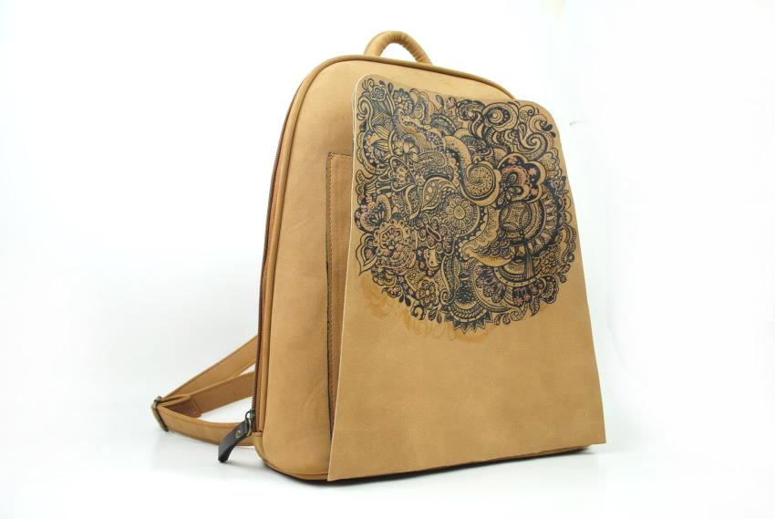 美恋芬 dq中国风手绘双肩包包学生背包冬季新款皮包中国京剧旅游特色