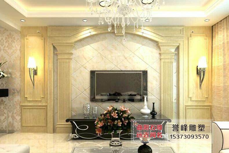 【誉峰雕塑】大理石电视背景墙/方形线条罗马柱背景墙