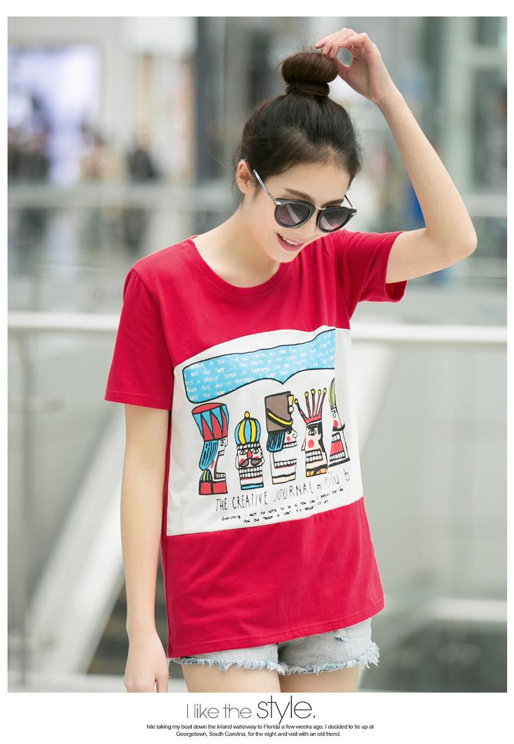 2015夏装头像宽松短袖t恤韩版纯棉女装上衣