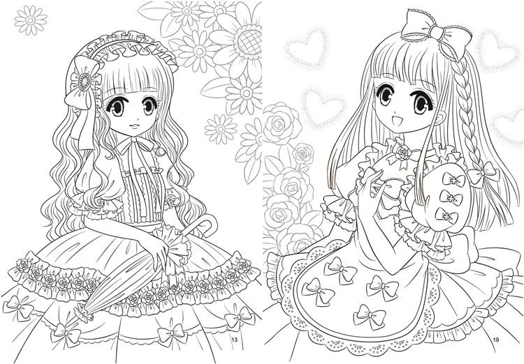 新年礼物公主涂色画3-6-8-12岁 画画美少女涂色 儿童填色本女孩绘画书