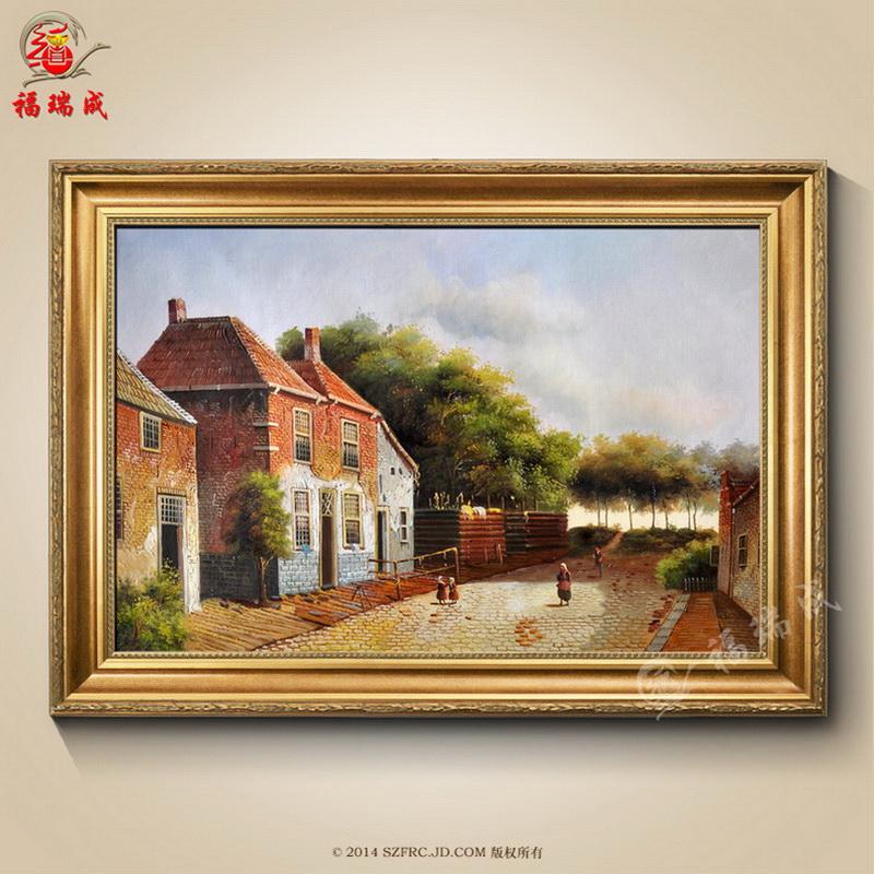 欧式油画手绘油画 风景威尼斯街景 现代家居 有框装饰