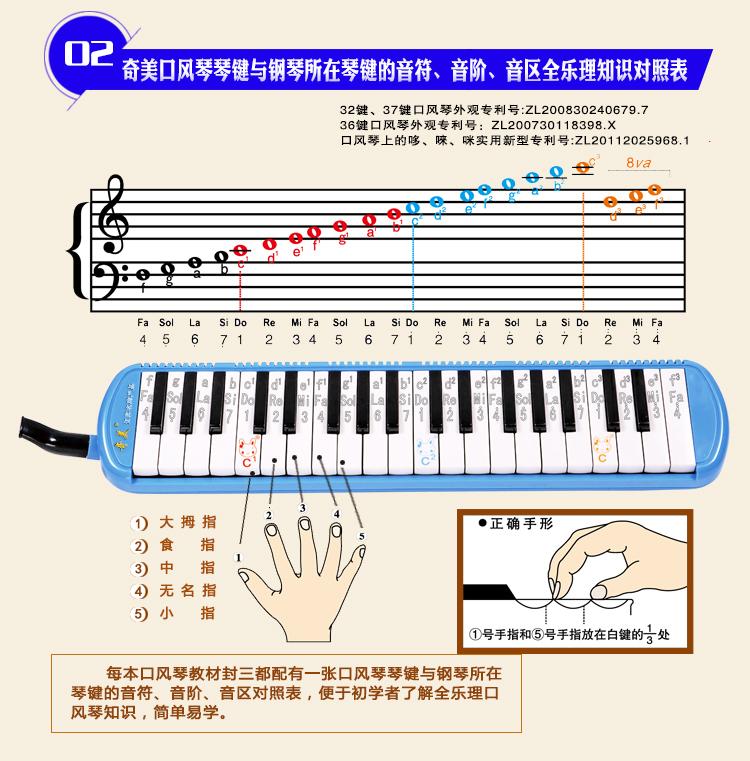 奇美37键口风琴 蓝色小状元