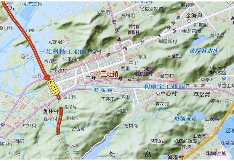 2017 珠海市地图挂图 约1.6*1.