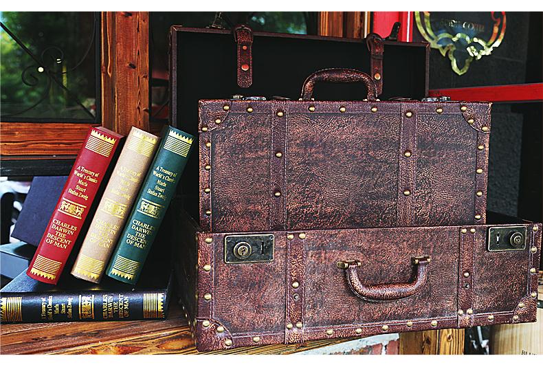 外贸欧式美式乡村木制复古旅行箱子拍婚纱照电影道具收纳手提箱 大号
