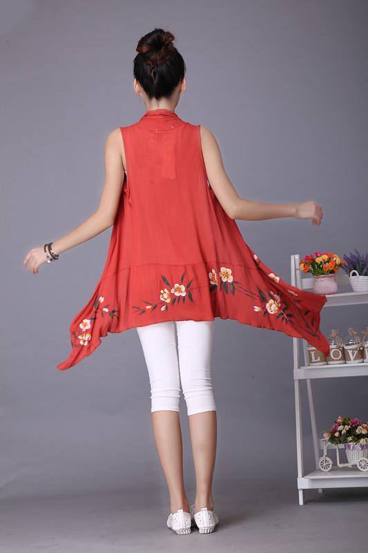英曼奴 2015夏季民族风女装中式长款手绘披肩宽松休闲开衫上衣#6054